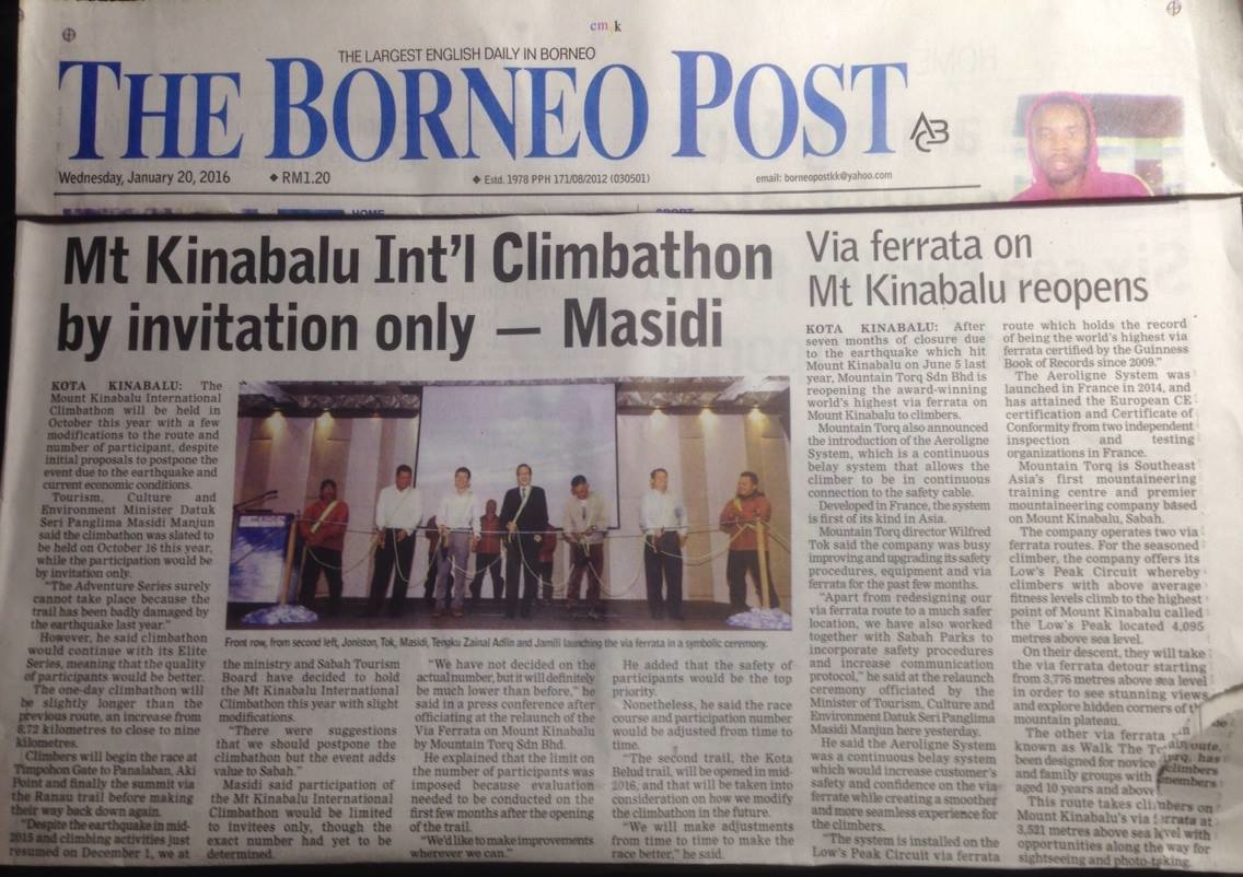 20th. January, 2016 - Borneo Post Daily Newspaper on