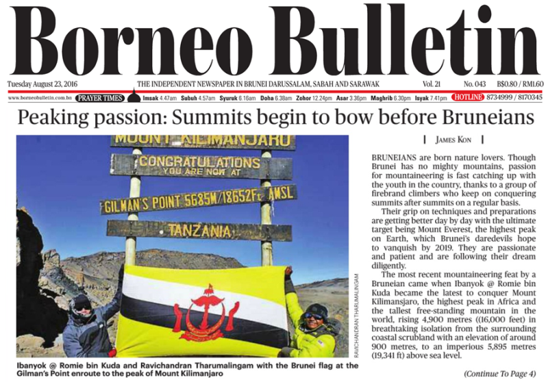 Borneo Bulletin front page